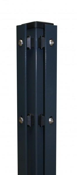 Eckpfosten 60x60 mm, mit Flacheisenleiste für Doppelstabmattenzaun zum einbetonieren