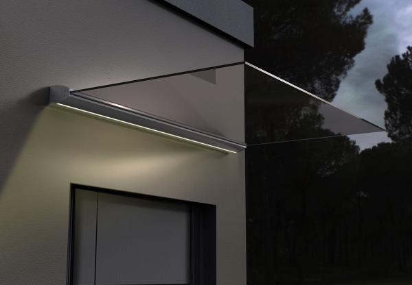 Glasvordach freitragend 0 ° mit LED Haus Tür Vordach Aluminium Profil Überdachung Glas
