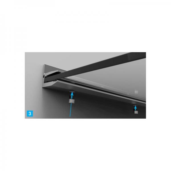Glasvordach freitragend +10° Haus Tür Vordach Aluminium Profil Überdachung Glas