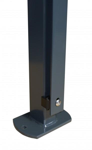 Pfosten 60x40 mm, mit Flacheisenleiste und angeschweißter Bodenplatte für Doppelstabmattenzaun zum a
