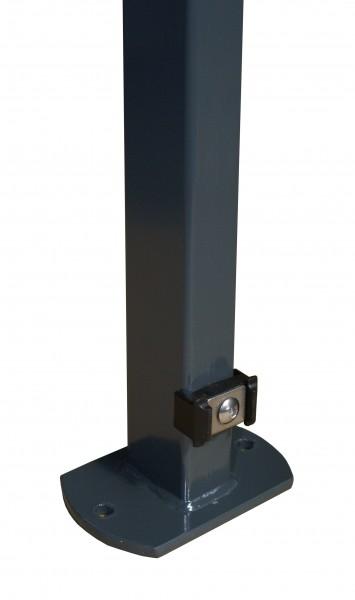 Pfosten 60x40 mm, mit Klemmhalterbefestigung und angeschweißter Bodenplatte für Doppelstabmattenzaun