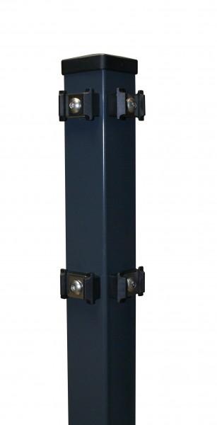 Eckpfosten 60x60 mm, mit Klemmhalterbefestigung für Doppelstabmattenzaun zum einbetonieren