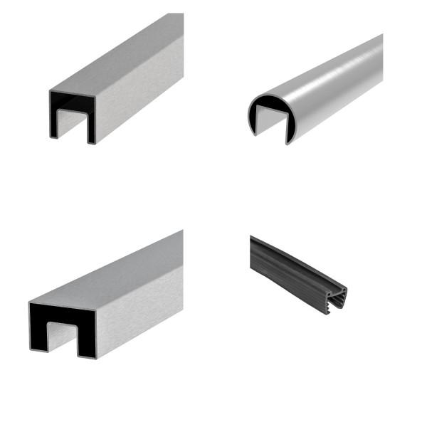 Edelstahl V2A Handlauf/Nutrohr Glasleistenrohr