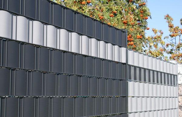 Sichtschutzstreifen PVC mit 6 mm Rillen, ca. 2.525 x 190 mm, 10 Stück im Pack für Doppelstabmatten